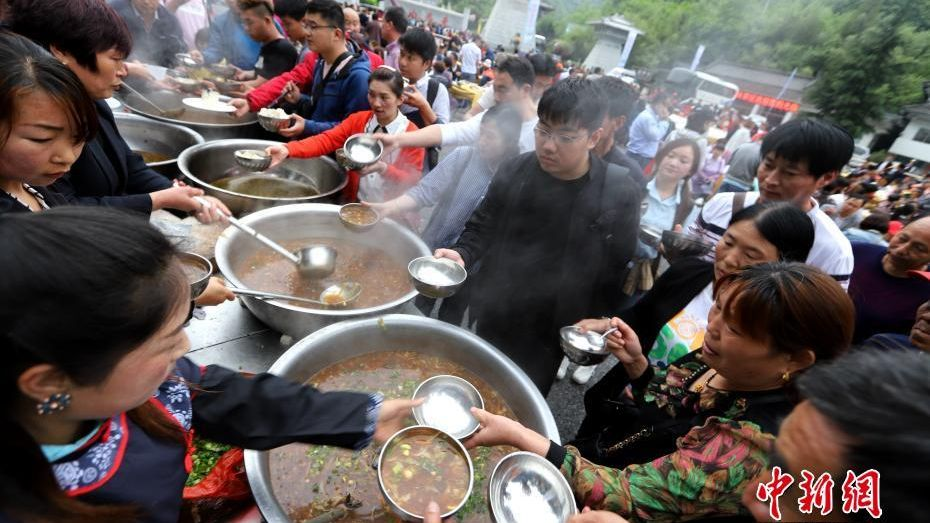 Giant tofu cake created in central China.