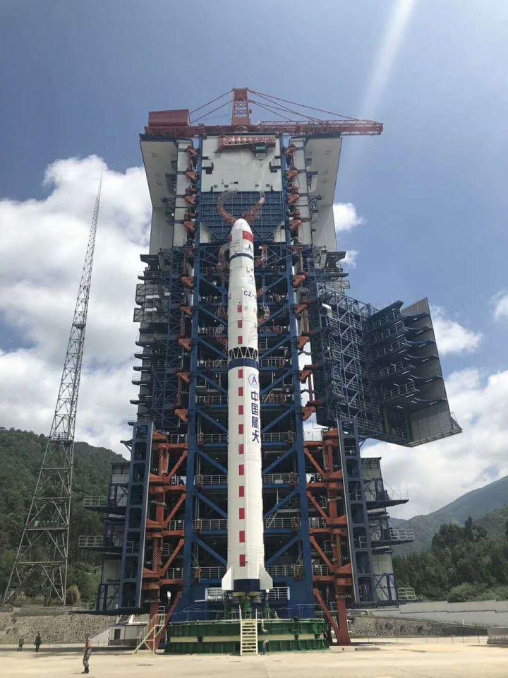 The Long March 4C rocket at the Xichang Satellite Launch Centre on May 20, 2018.
