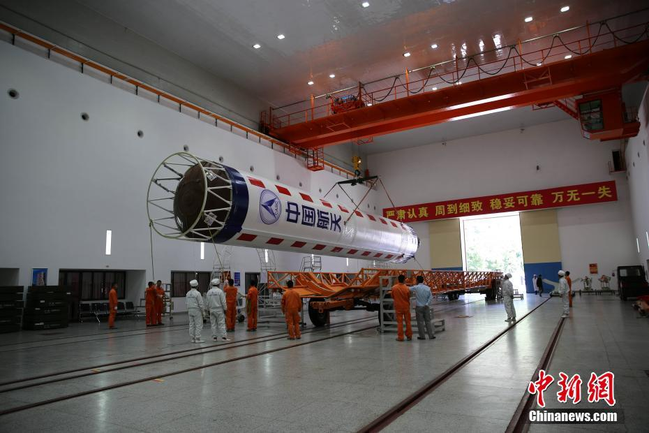 Launch preparations for the Long March 4C rocket for the Queqiao Chang'e-4 relay satellite mission at the Xichang Satellite Launch Centre in May 2018.