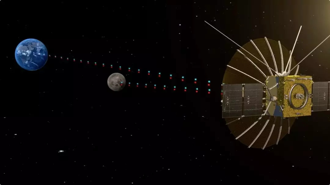 A rendering of the Queqiao Chang'e-4 lunar satellite performing its communications relay functions beyond the Moon.
