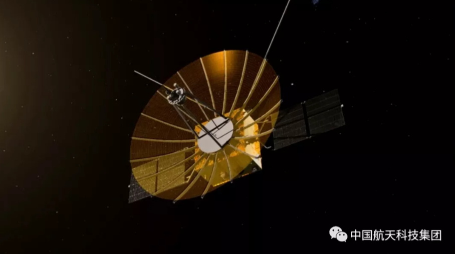 A rendering of the Queqiao Chang'e-4 lunar relay satellite.