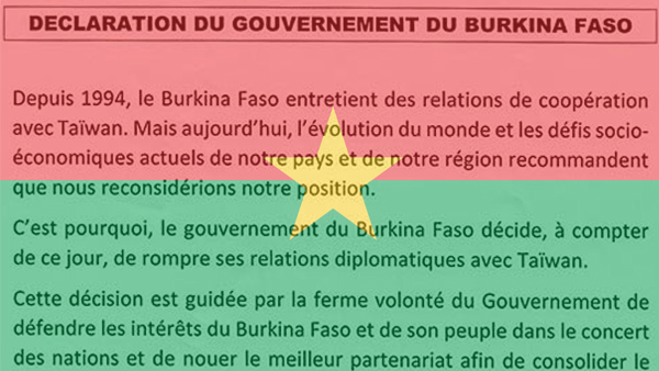 Burkina Faso cuts diplomatic ties with Taiwan