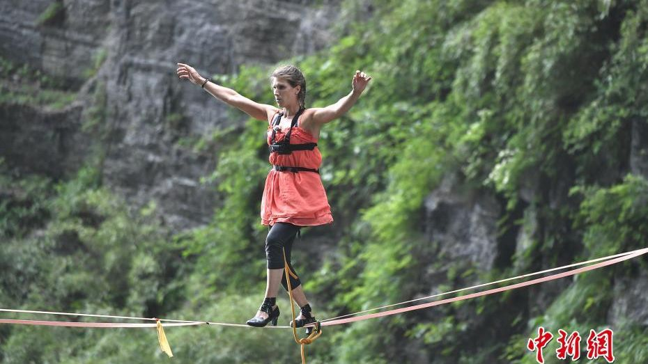 High heel slackline contest held in central China.
