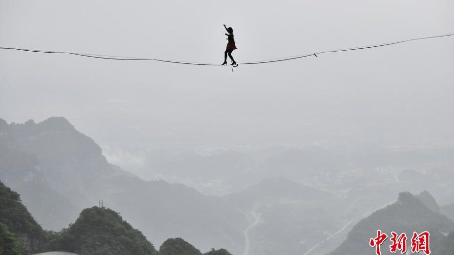 High heel slackline contest held in central China