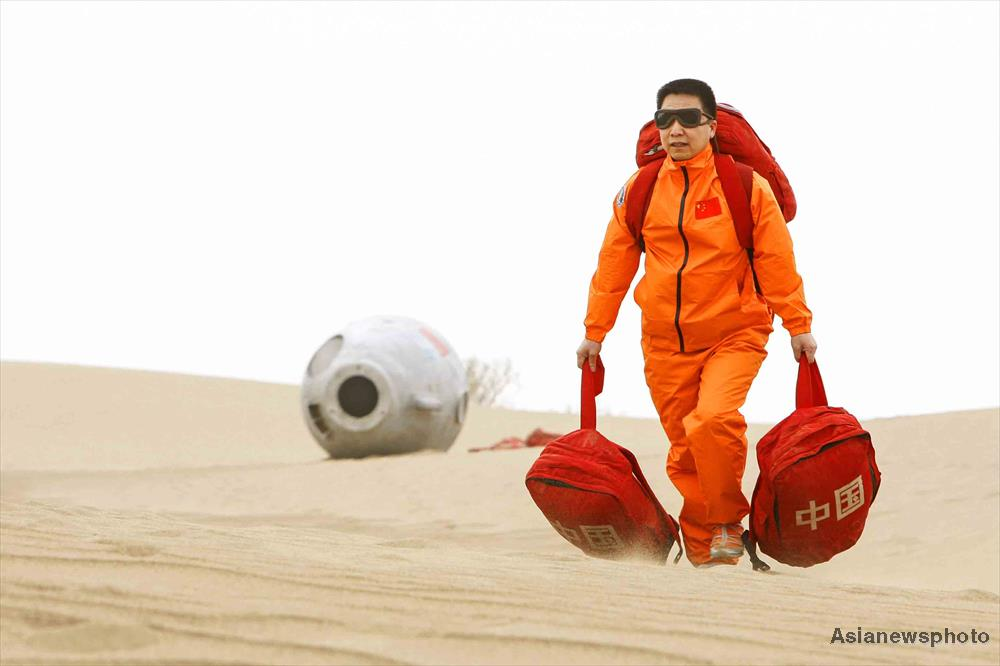 Yang Liwei, who became China's first astronaut in space in 2003, in the Badain Jaran desert for field training in May 2018.