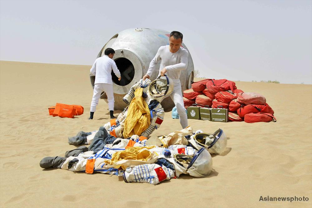 Astronaut Fei Junlong, who flew on Shenzhou-6, during desert field training.