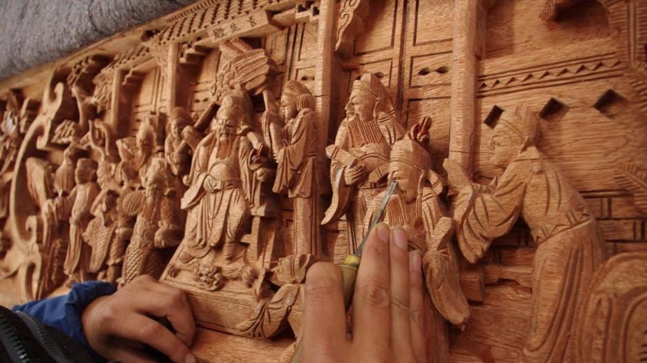 china jiangxi province leping opera theatre wood carving decoration
