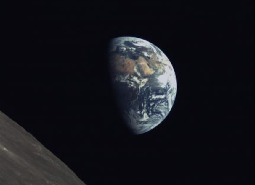 The Earth and Moon imaged on June 8 by the KACST-developed camera on China's Longjiang-2/DSLWP-B microsatellite. The image shows Saudi Arabia on the distant Earth, as well as the northern hemisphere of the lunar far side, near Petropavlovskiy crater.