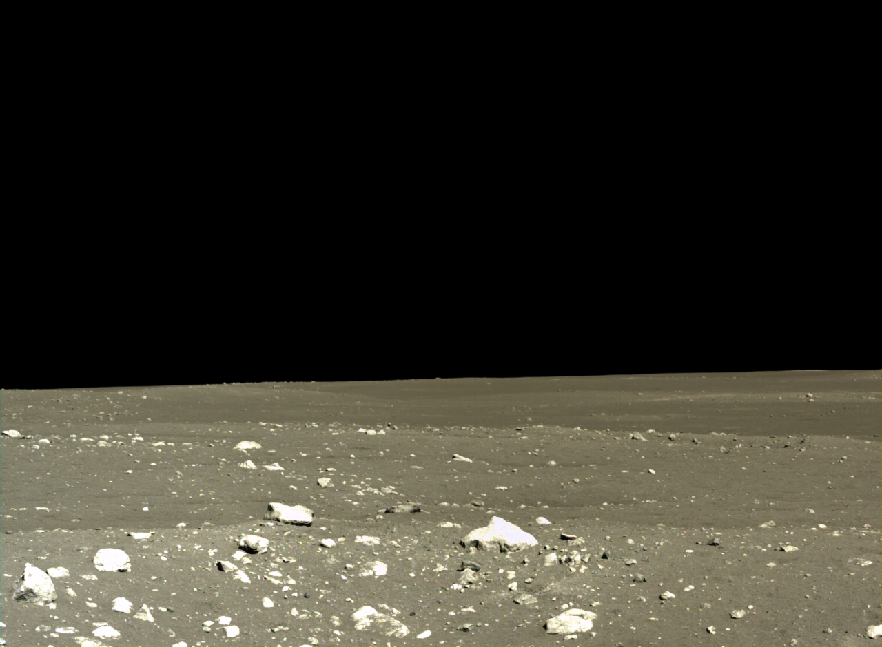A view of the landing area of the Chang'e-3 lander on Mare Imbrium, taken by the Lander Terrain Camera (TCAM).