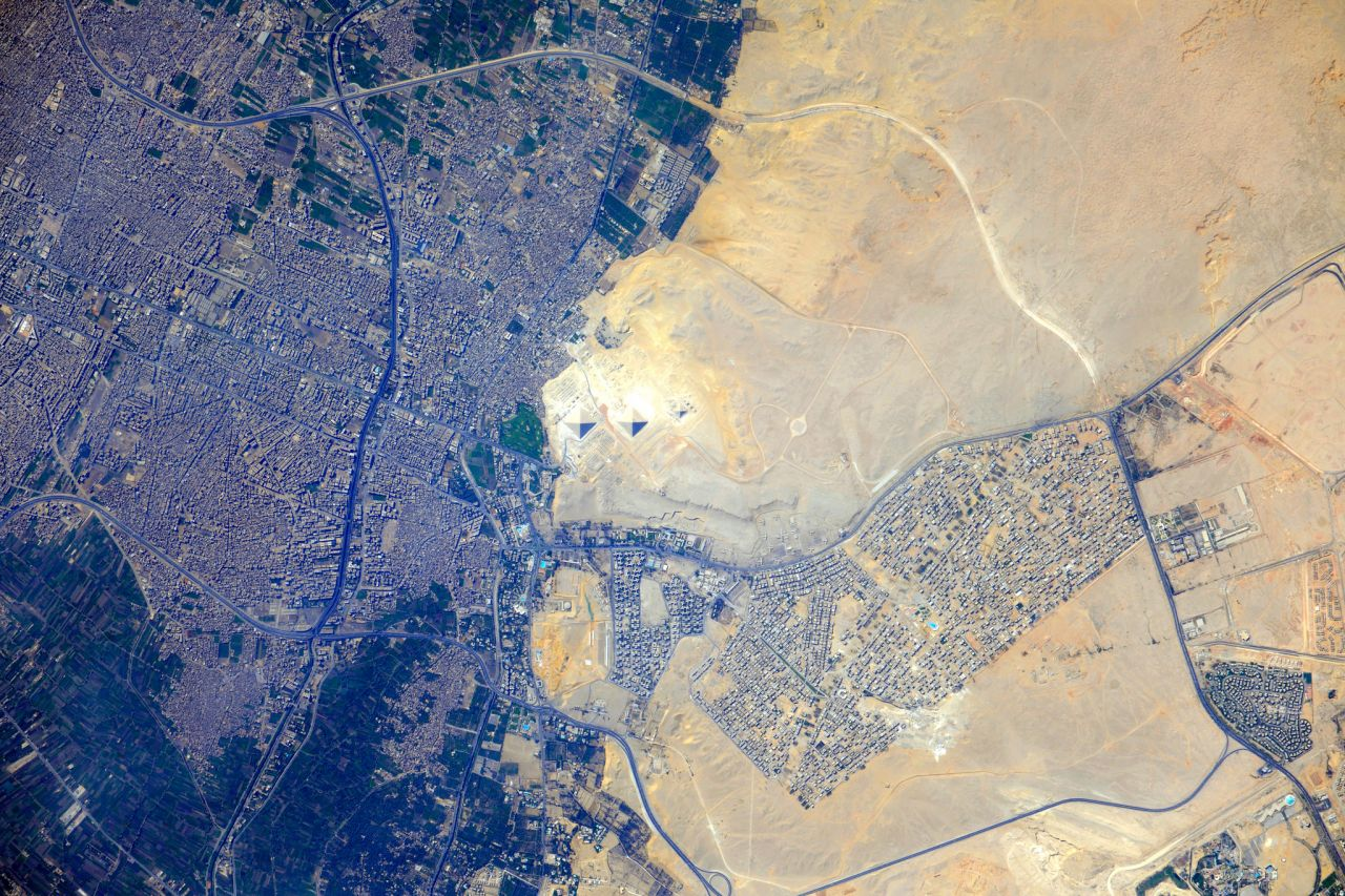 Pyramids at Giza, Egypt, taken by an International Space Station crew member on 26th July, 2012.