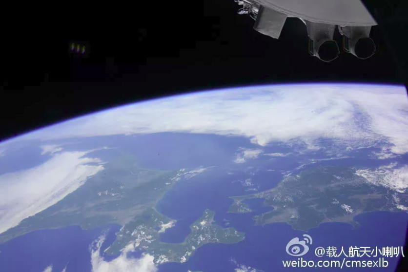 An image of the Earth taken by the crew of Shenzhou 9 in 2012, from aboard Tiangong-1 space lab.