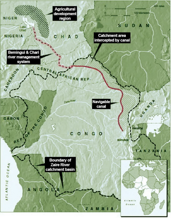 Map showing Lake Chad and River Congo.