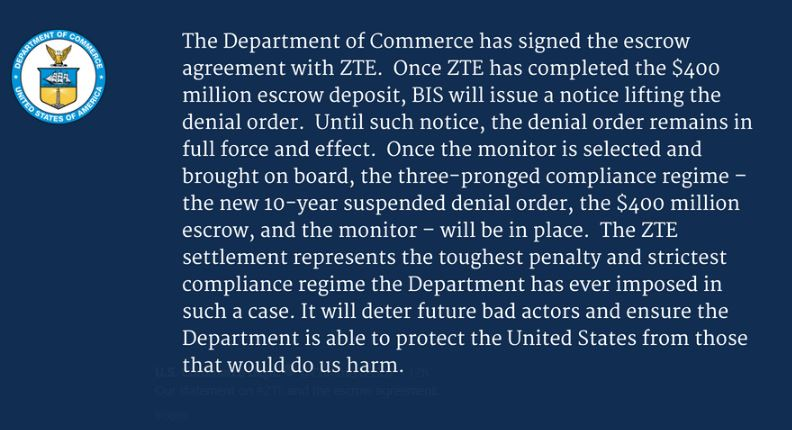 The US Department of Commerce statement posted on Twitter concerning the agreement with Chinese telecoms giant ZTE.
