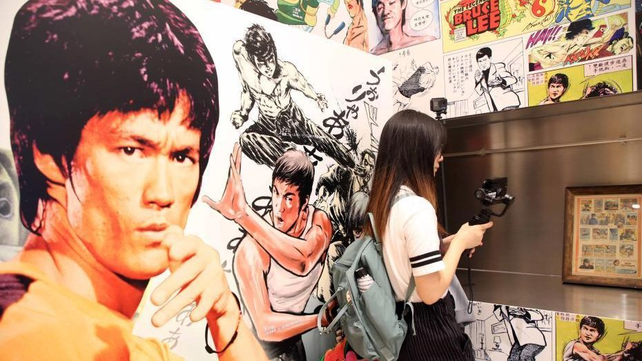 A special cartoon, comics and video game show has been held in Hong Kong to mark the 45th anniversary of Bruce Lee's death.