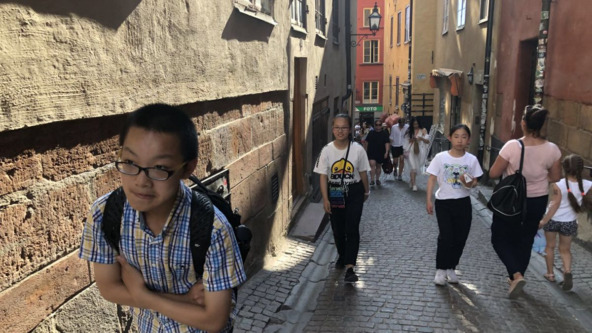 Students at Stockholm's old town