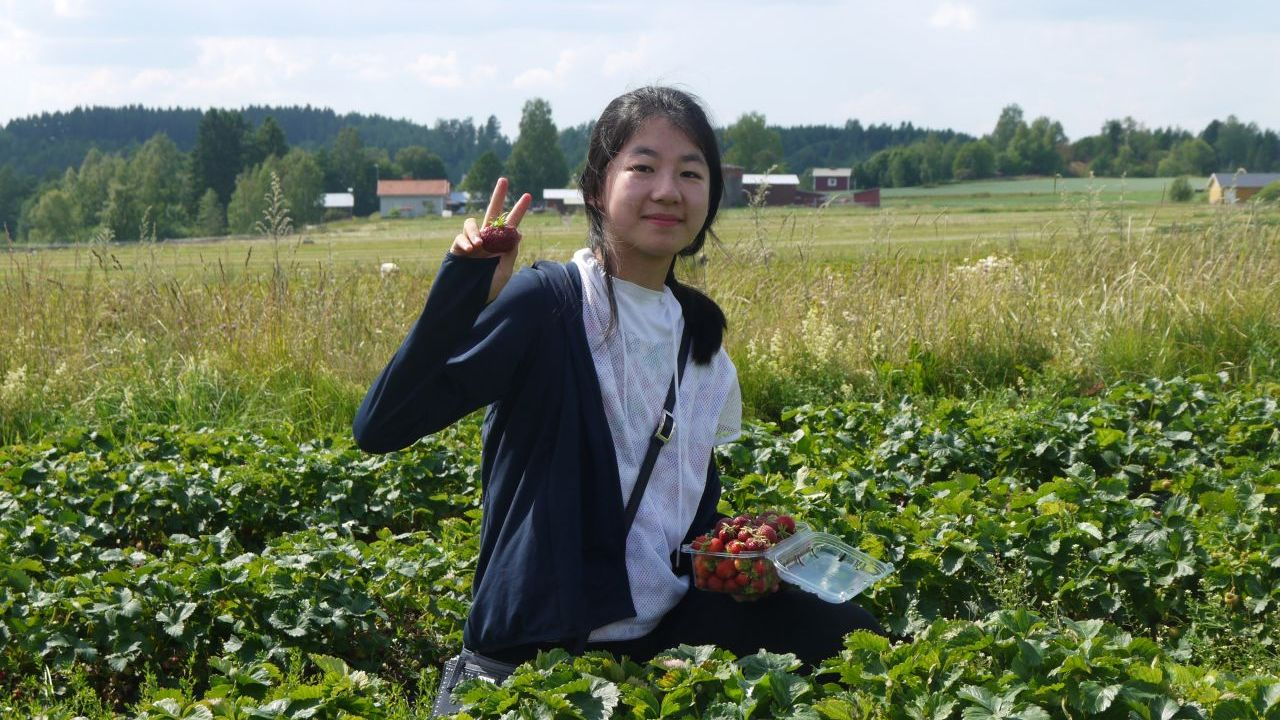 Student picking berries.