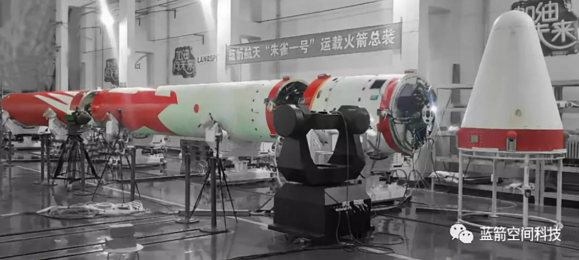 Landspace's Zhuque-1 three-stage solid-fuel rocket going through assembly and testing in August 2018.