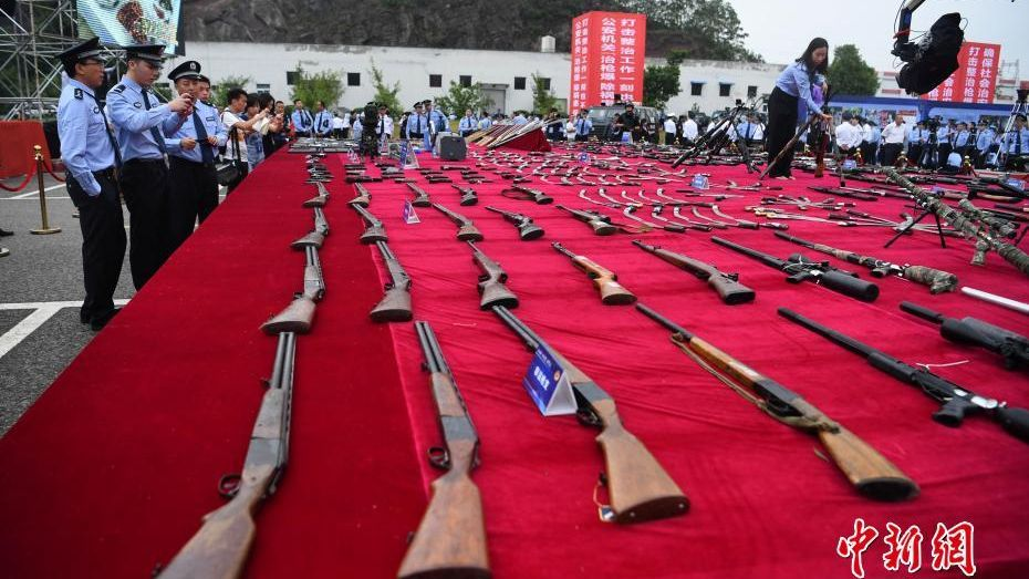Police destroy over 140,000 firearms publicly.