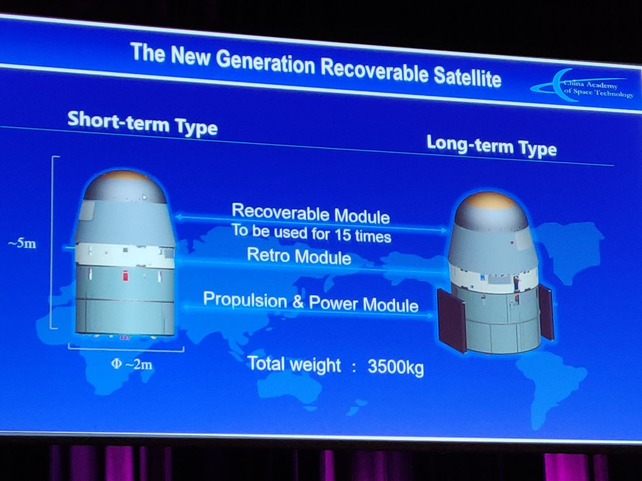 The CAST recoverable satellite will, excluding heat shielding, be reusable around 15 times.