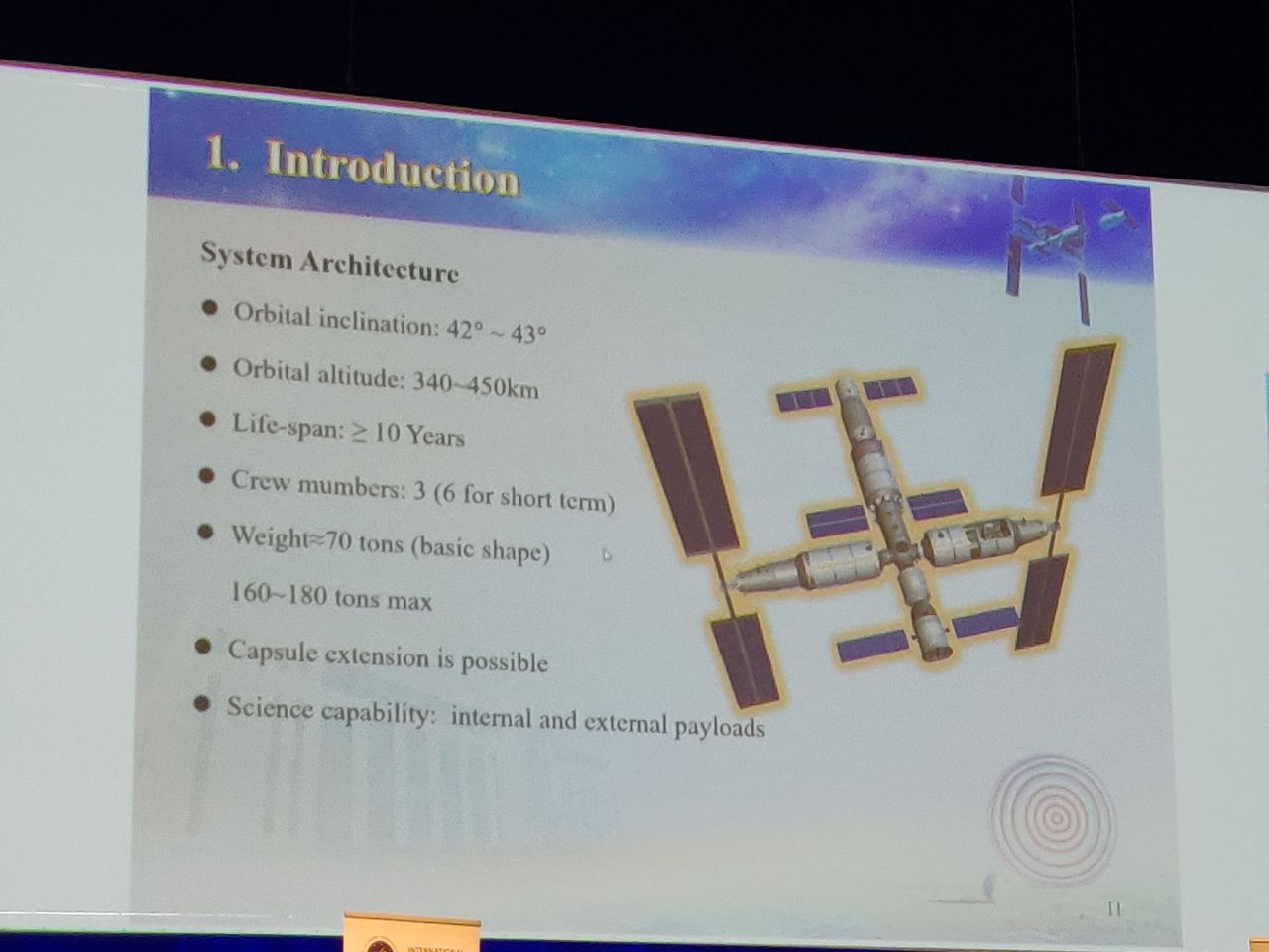 A slide detailing characteristics of the Chinese Space Station presented at IAC 2018.