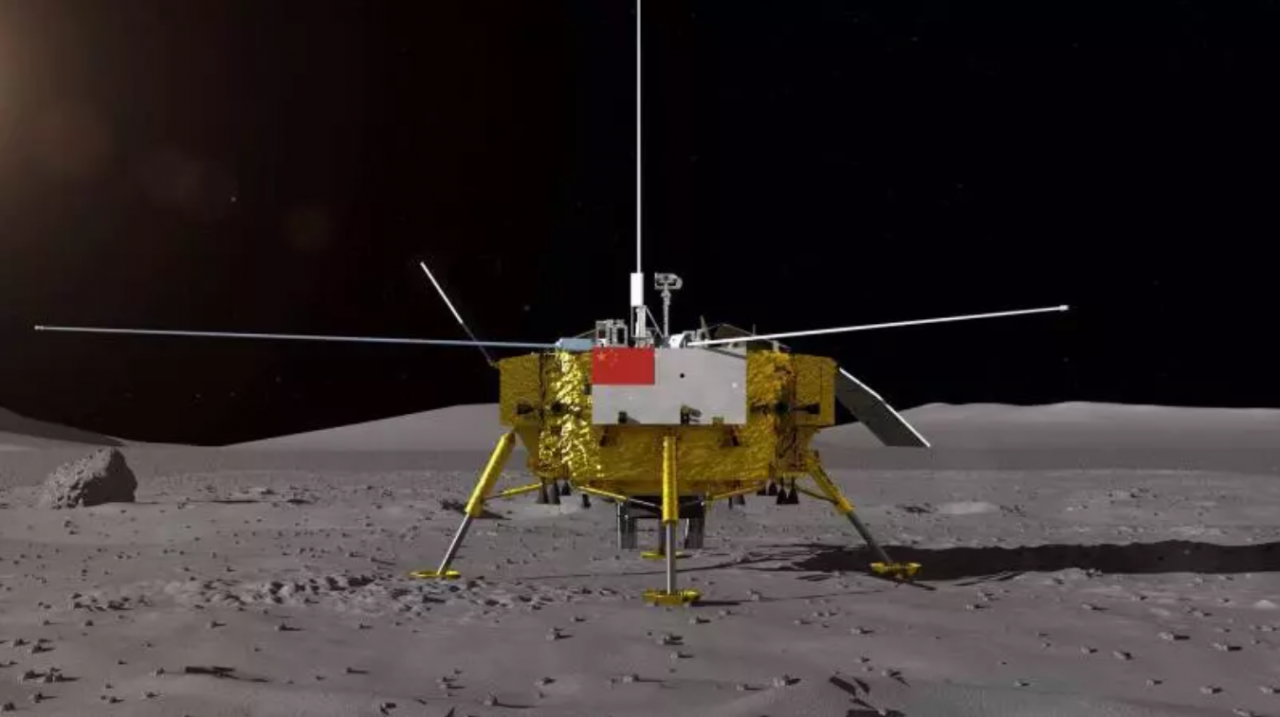 A render of the Chinese Chang'e-4 lunar lander designed to set down on the South Pole-Aitken Basin on the far side of the Moon.