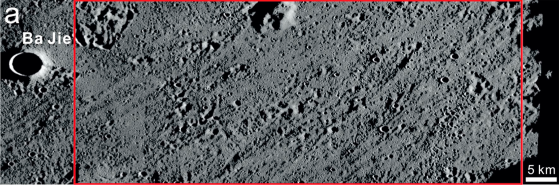The red box indicates the Chang'e-4 landing area within the Von Kármán crater, according to a paper by Huang Jun et al, 2018.