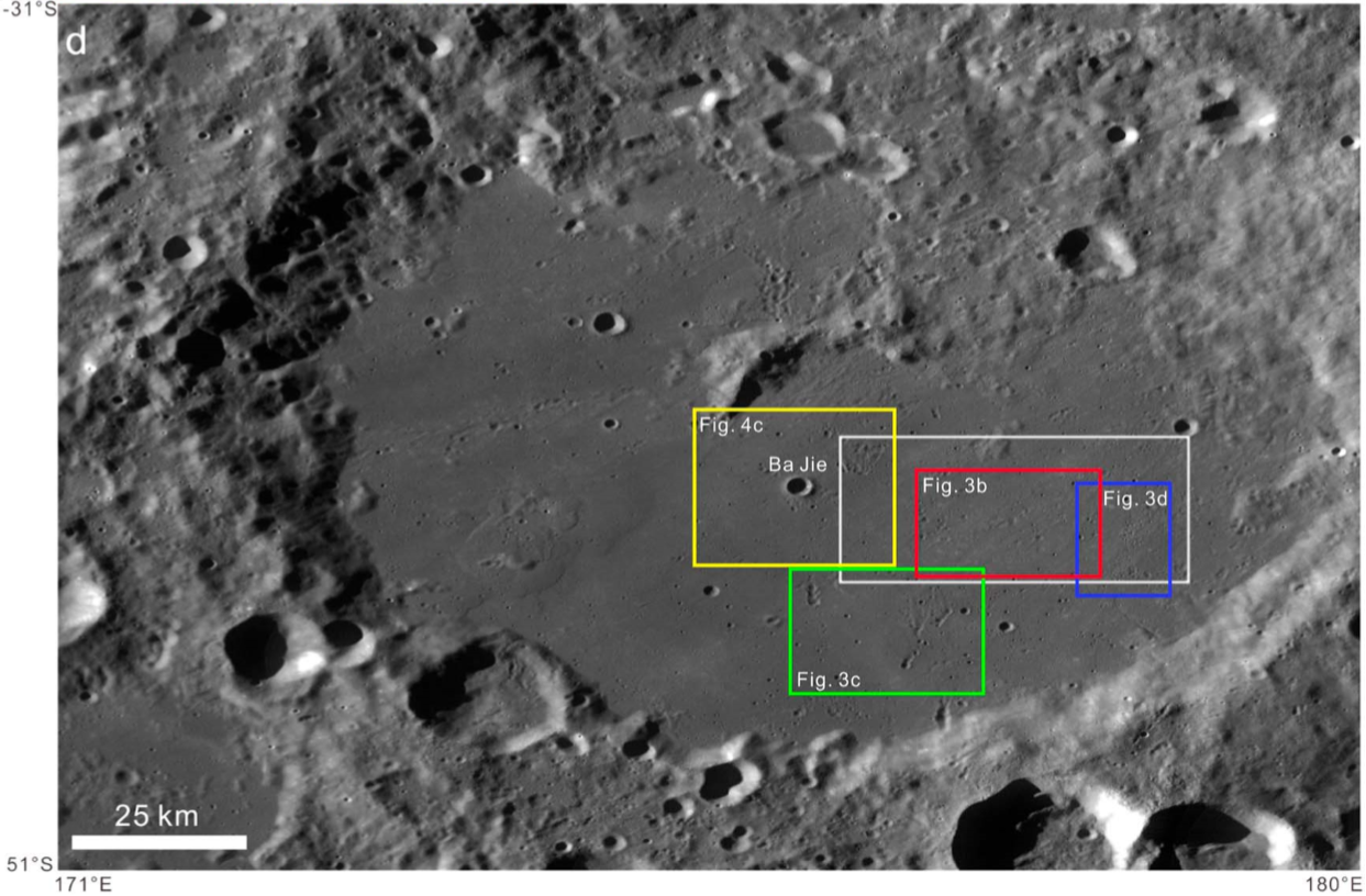 The white box indicates the Chang'e-4 landing area within the Von Kármán crater, according to a paper by Huang Jun et al, 2018.