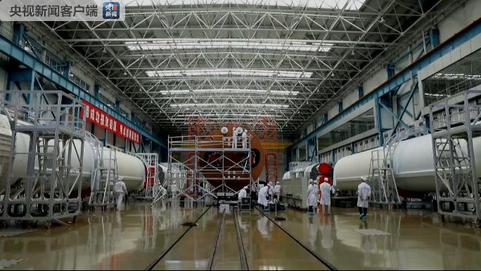 Components of the third Long March 5 rocket undergoing tests and assembly in Tianjin in early October 2018.