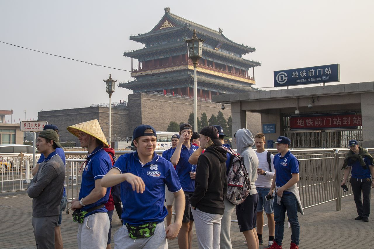 Finnish ice hockey team at Zhengyangmen