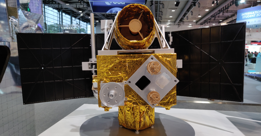 A model of China's Mars 2020 mission orbiter on display at the 2018 International Astronautical Congress in Bremen, Germany.