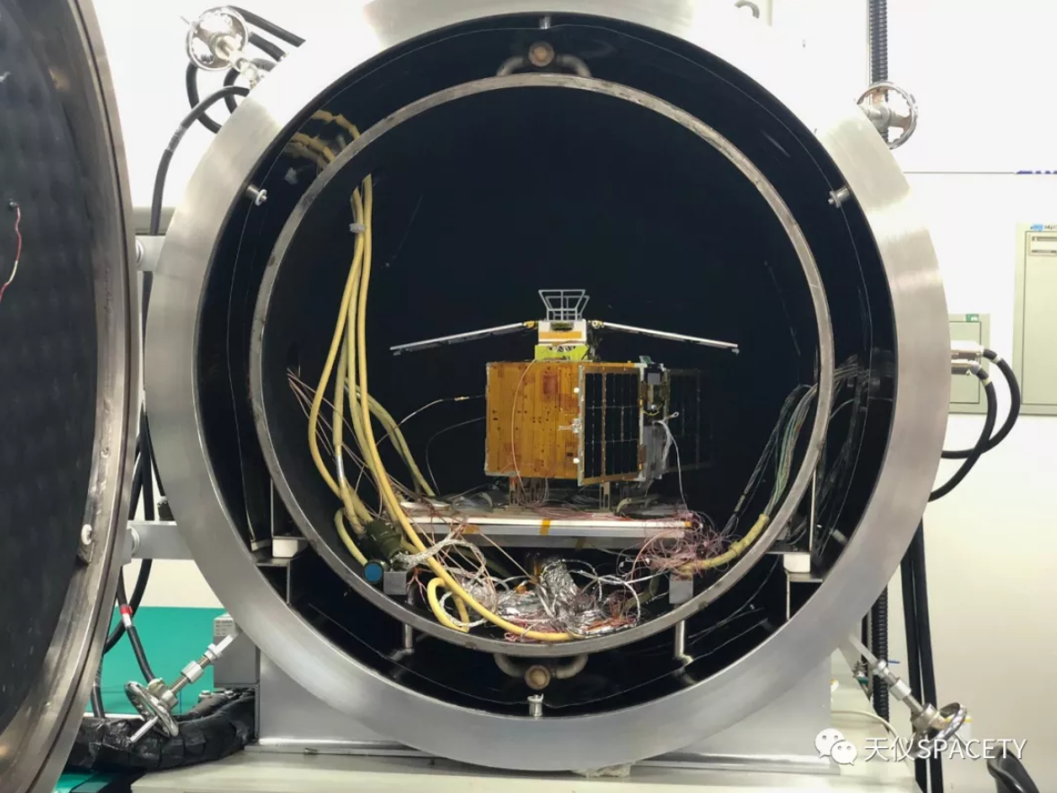 A microsatellite developed by Spacety undergoing testing.