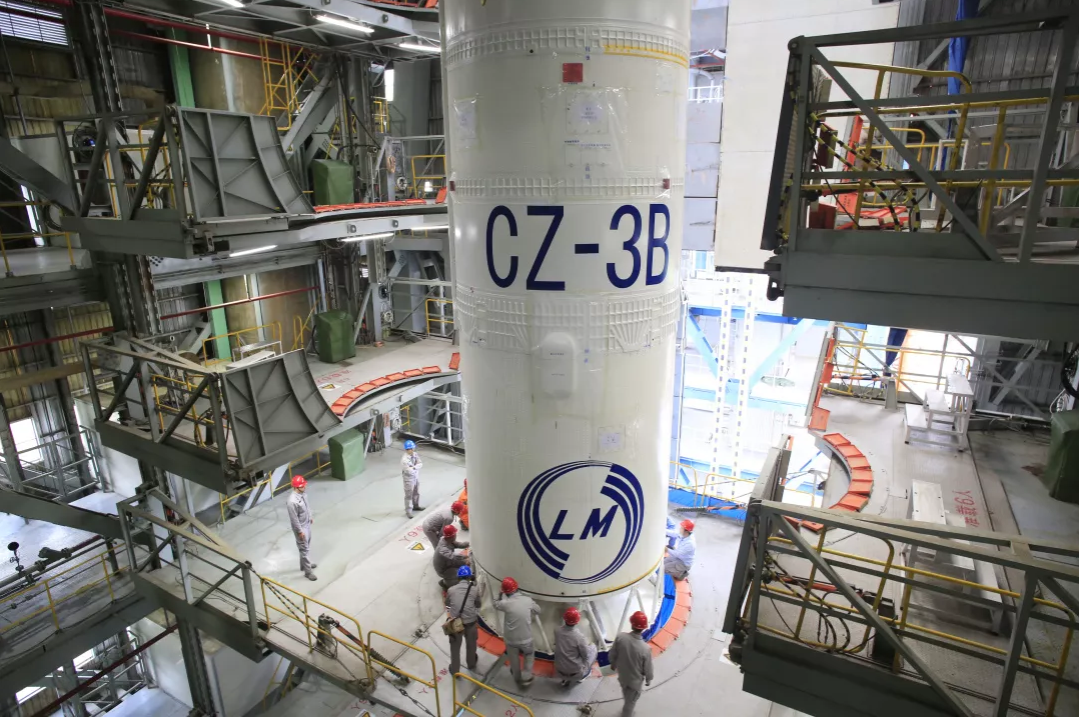 Vertical integration of the Long March 3B/G2 rocket that launched the Beidou-3 GEO-1 satellite.