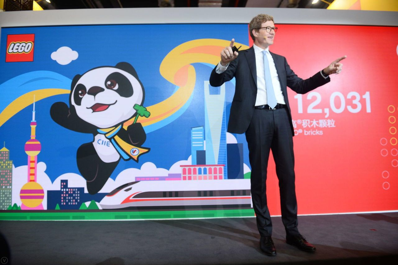 Niels B Christiansen, Lego Group CEO, at the first China International Import Expo (CIIE) in Shanghai.