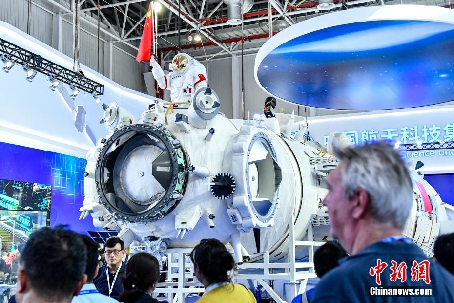 A 1:1 model of the Tianhe core module of the Chinese Space Station on display at the 2018 Zhuhai Airshow.