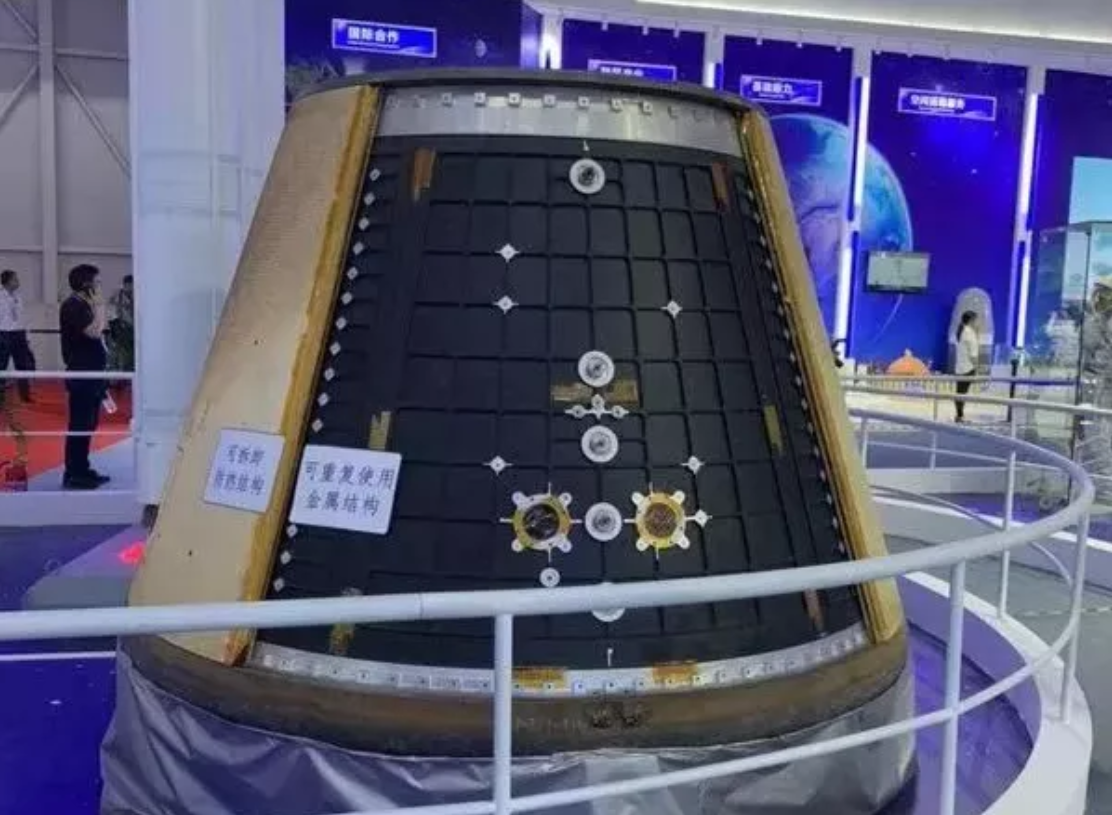 Model of the crew capsule for the next-generation crewed spacecraft on display at the Zhuhai Airshow in November 2018.