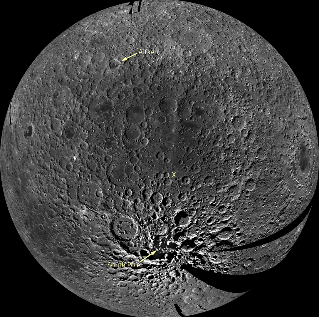 A preliminary monochrome mosaic of the moon from the Lunar Reconnaissance Orbiter (LRO) Wide Angle Camera (WAC), centered in the middle of the South Pole-Aitken basin.