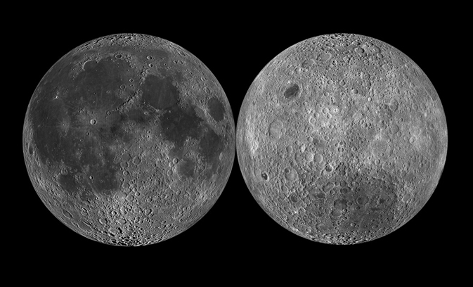 Images of the near (left) and far side of the Moon.