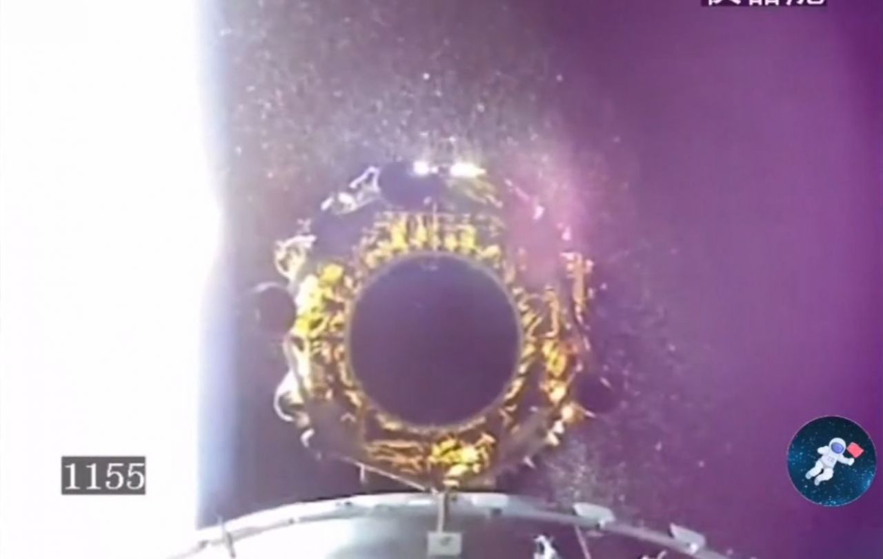 The Chang'e-4 lander moments after separation from the third stage of the Long March 3B launch vehicle which sent the craft into trans-lunar injection.