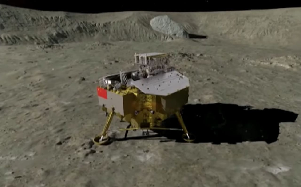 CGI of Chang'e-4 lander and rover having set down on the lunar surface.