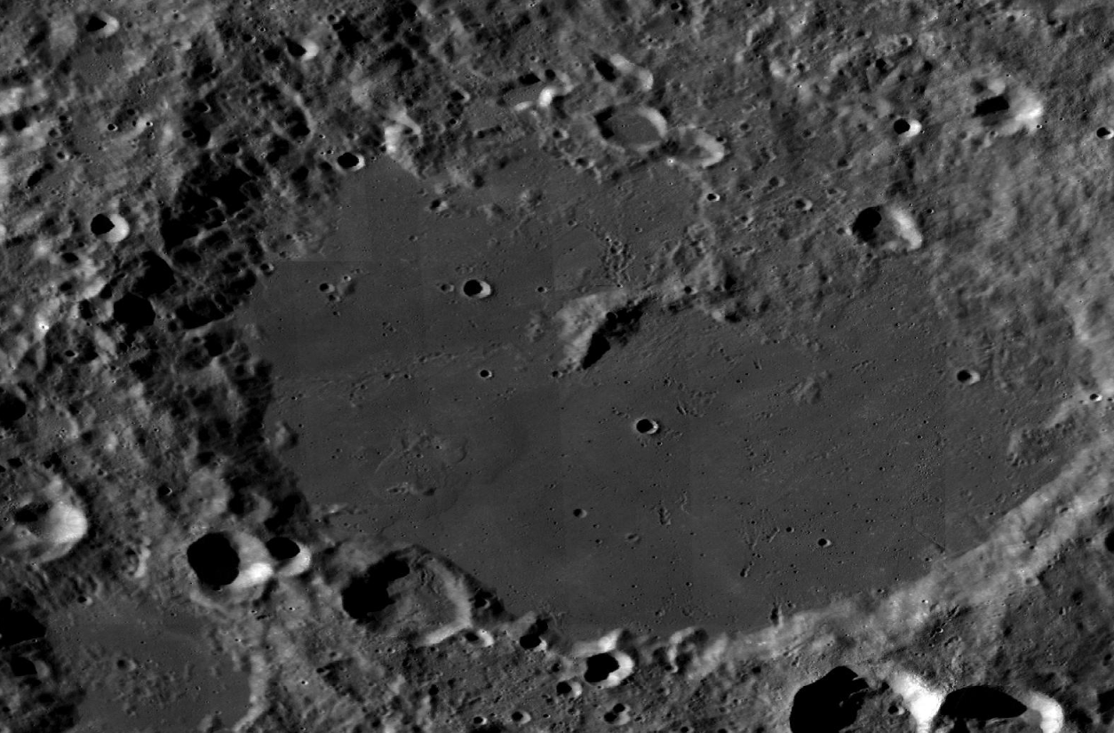 An image of the Von Kármán crater from a mosaic created by the Lunar Reconnaissance Orbiter Camera.