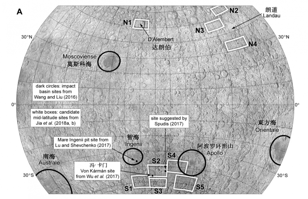 Chang'e-4 lunar fars ide impact basin targets identified by Wang and Liu (2016) (dark circles), landing areas from Jia et al. (2018a, b) (white rectangles) and other suggested sites.