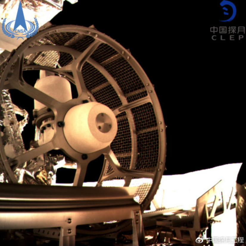Close-up view of the wheel of the Chang'e-4 rover 'Yutu 2 (Jade Rabbit 2).