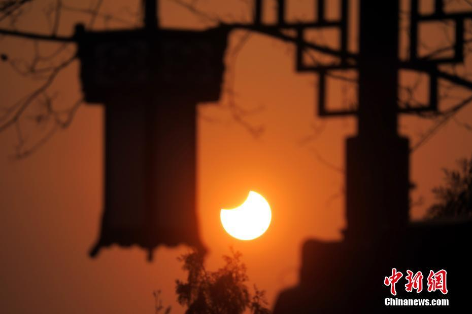 A partial solar eclipse witnessed in Beijing on January 6, 2019.