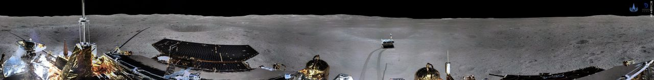 A cylindrical view of the first panorama returned from the Chang'e-4 lander within Von Kármán crater on the far side of the Moon.