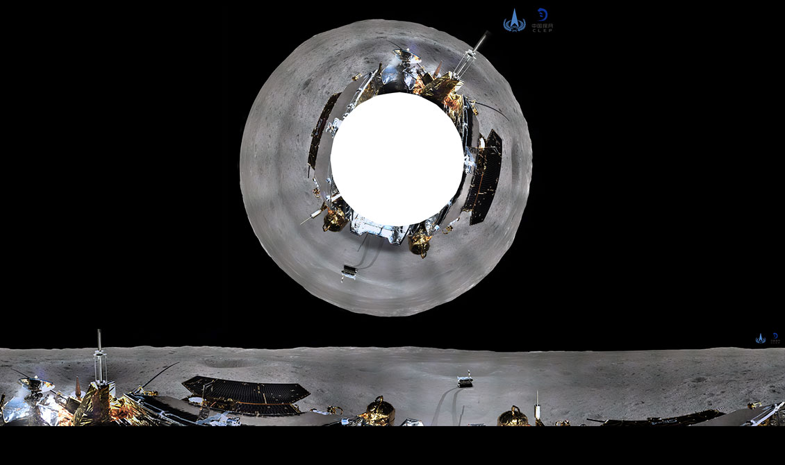 The azimuth (top) and cylindrical views of the Chang'e-4 panorama released on January 11, 2019.