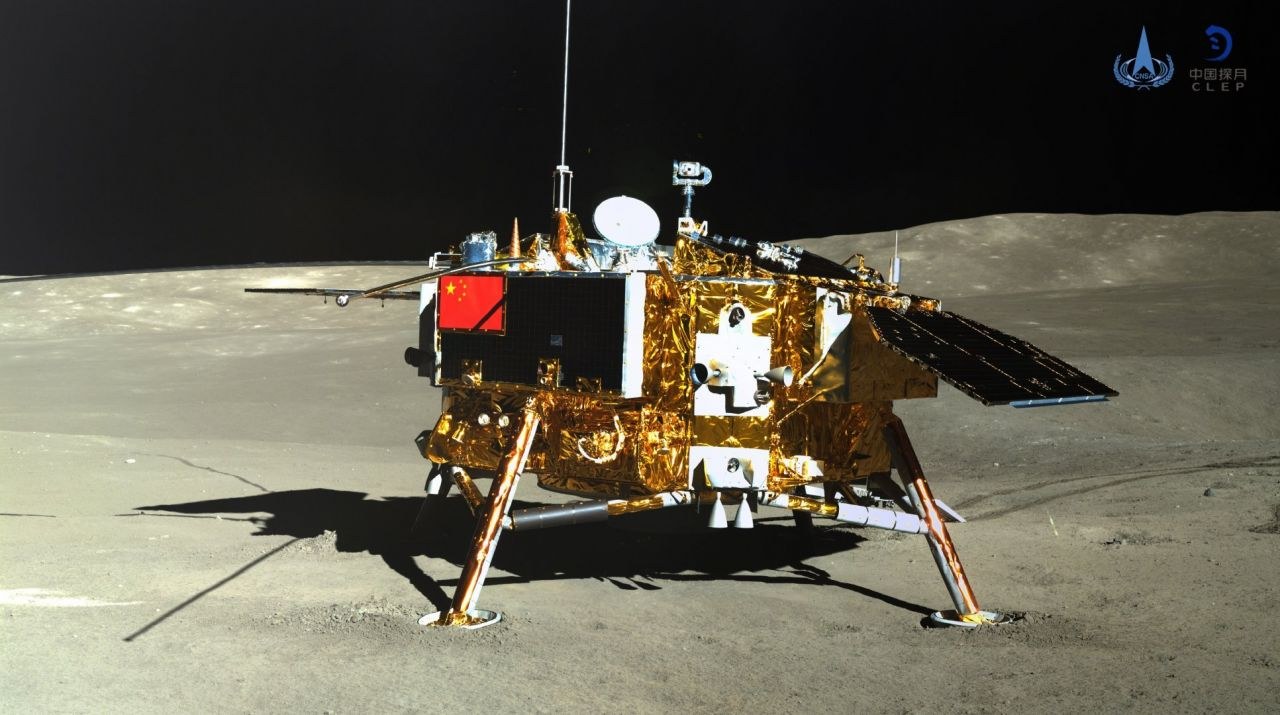 The Chang'e-4 lander, imaged by the Yutu-2 rover, on the far side of the Moon in January 2019.