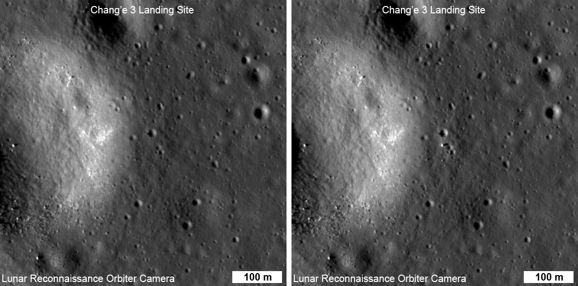 Lunar Reconnaissance Orbiter NAC images before and after the Chang'e-3 landing in Mare Imbrium in 2013.