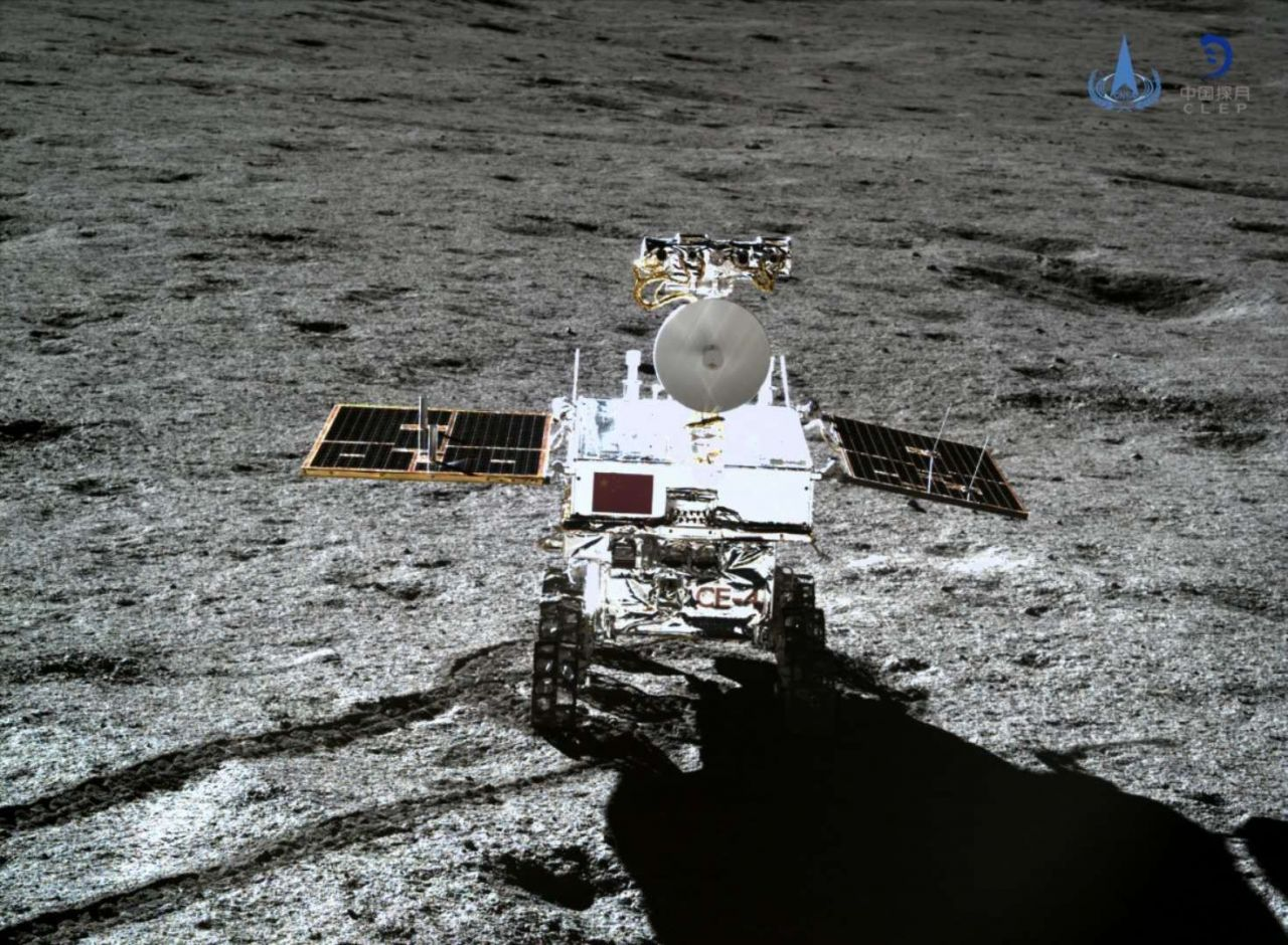 The Yutu-2 rover imaged by the Chang'e-4 lander in January 2019.
