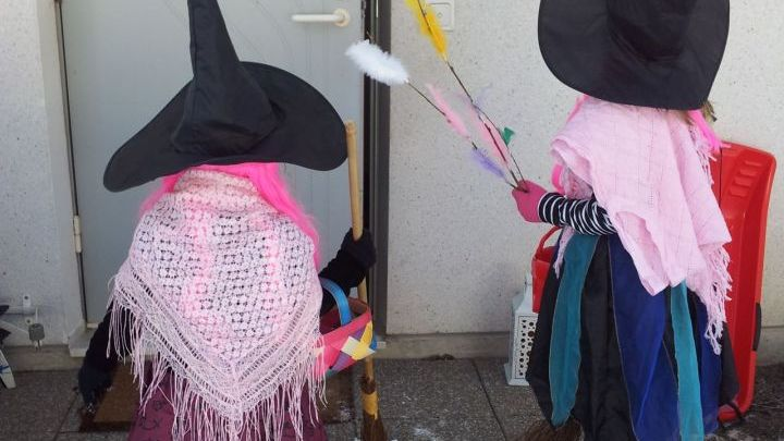 Children dress as colorful witches and exchange pussy willow for sweets in Finland on Palm Sunday.