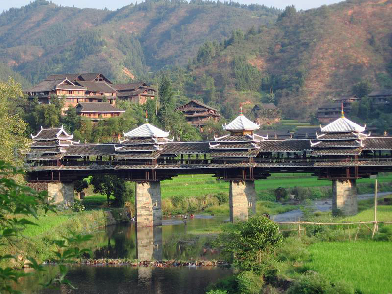 Kam covered bridge in Guangxi, China.